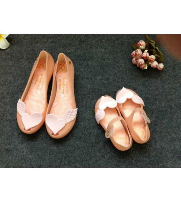 WS081 SEPATU MOM LOVE WINGS PEACH
