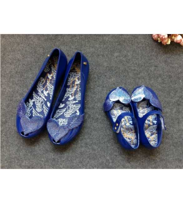 WS081 SEPATU MOM LOVE WINGS NAVY BLUE